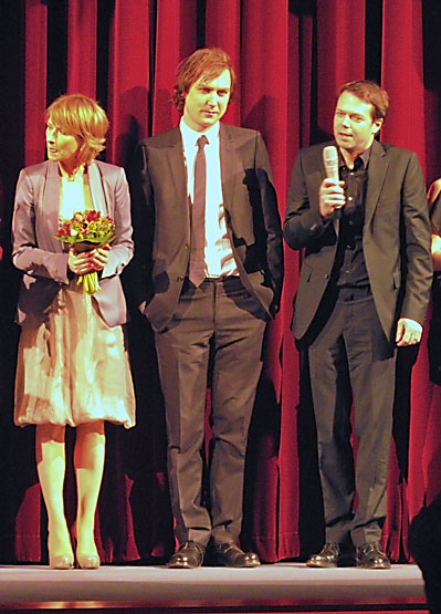 """Corinna Harfouch, Lars Eidinger und Hans-Christian Schmid im Berlinale-Palast"", Foto © Friedhelm Denkeler 2012"