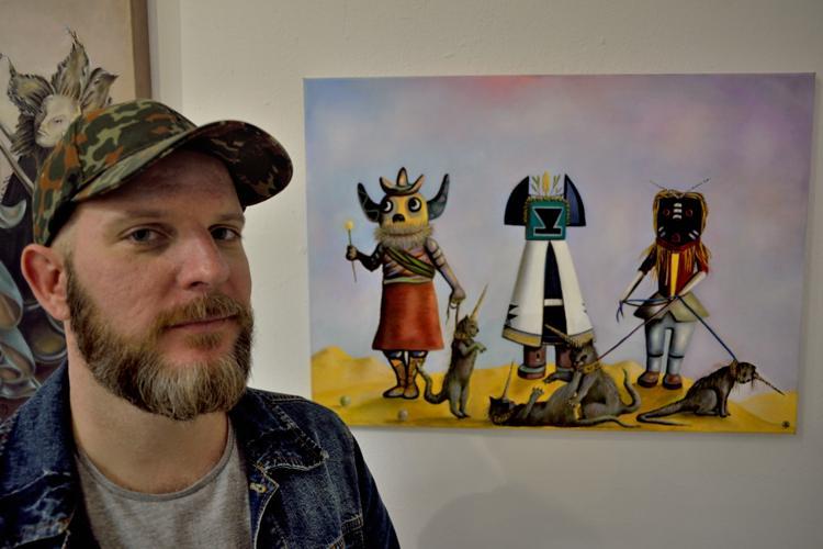 Brandt Parker mit »Kachinas«, 2014, in der Kreativagentur Komet, Foto © Friedhelm Denkeler 2014