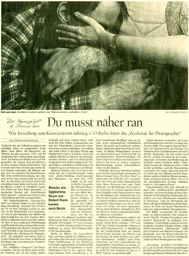 ur Ausstellung »Werkstatt für Photograhie 1976-1986« bei C/O Berlin: Artikel im TAGESSPIEGEL, 6. Januar 2017