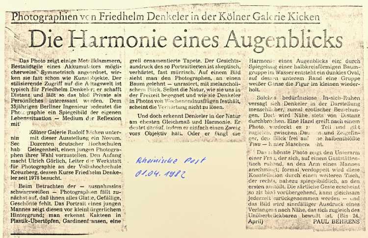 »Die Harmonie des Augenblicks«, Ausstellung in der Galerie Kicken, Köln, 19. März bis 24. April 1982 (Einzeklausstellung Friedhelm Denkeler)