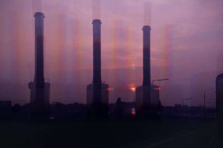 »Industrielle Abendstimmung«, Heizkraftwerk Wilmersdorf-Schmargendorf, Berlin, , Foto © Friedhelm Denkeler 1977