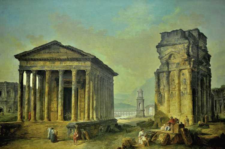 """Hubert Robert: """"Die Ruinen von Nimes, Orange und Saint-Rèmi-de-Provence, um 1783/89, Gemädegalerie Berlin, Foto © Friedhelm Denkeler 2016"""