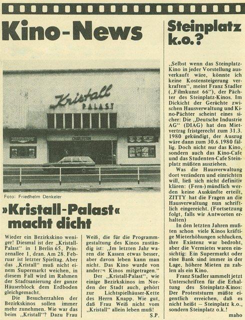 """Artikel """"Kristall-Palast macht dicht"""" in Zitty, 05/1980 mit einem Foto von Friedhelm Denkeler"""