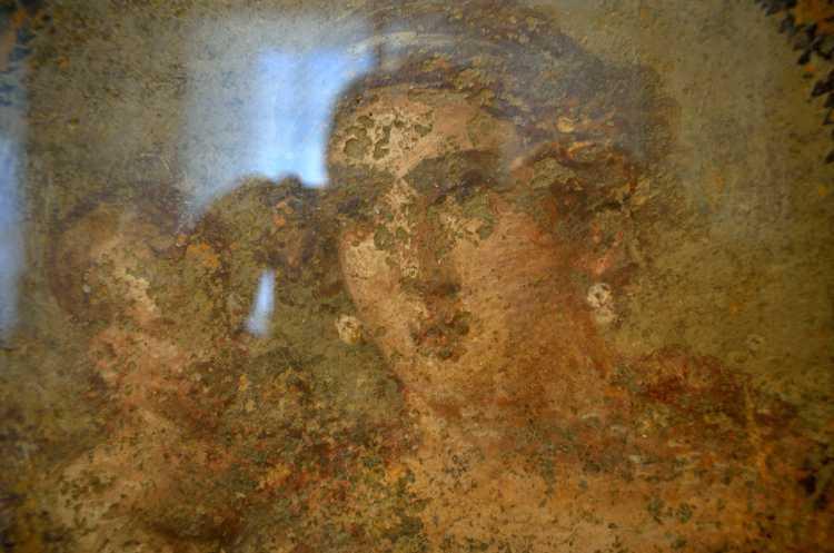 »Wandmalereifragment: Tondo mit Venusbüste und Amor«, Freskotechnik, Viertert Stil, 50 – 79 n.Chr., Foto © Friedhelm Denkeler 2018