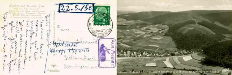 »Ansichtskarte aus Bödefled im Hochsauerland an Familie Hermann Schmidt in Lüdenscheid vom 22. Mai 1956« mit Zusatzstempel »Aug. Meinert (mit Kaninchen)«, Archiv Friedhelm Denkeler 1956