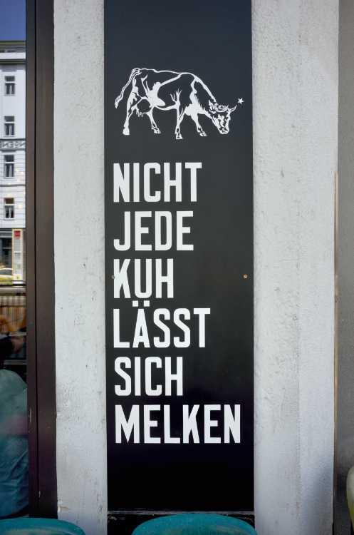 »Nicht jede Kuh lässt sich melken« (gefunden in der Torstraße, Café  St. Oberholz)