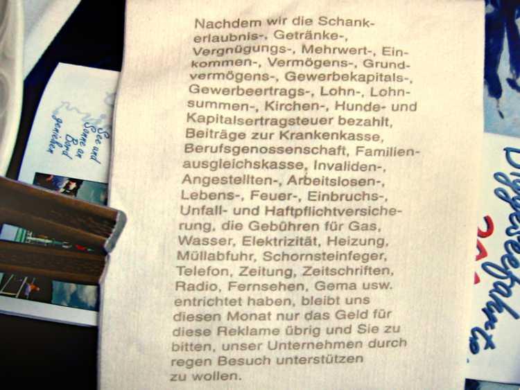 »Schankerlaubnissteuer und 37 weitere Abgaben«, Foto © Friedhelm Denkeler 2002