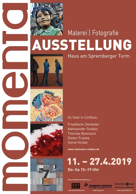Plakat zur Ausstellung »momenta in Cottbus«, Layout © Horst Hinder