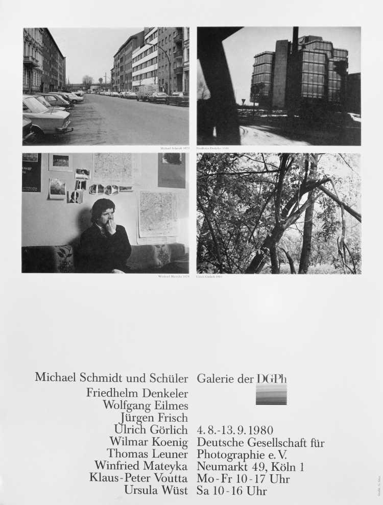Plakat der Werkstatt für Photographie: »Michael Schmidt und Schüler«, Galerie der DGPh, 1980, Gestaltung: Gabriele Götz