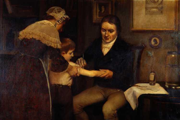 Ernest Board »Edward Jenner bei der ersten Impfung gegen Pocken, die er bei dem achtjährigen James Phipps am 14. Mai 1796 durchführt«, Quelle: Wikipedia